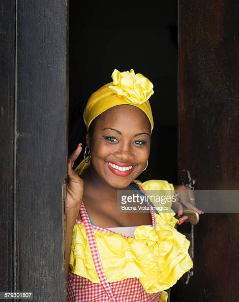 Young woman in a traditional cuban dress