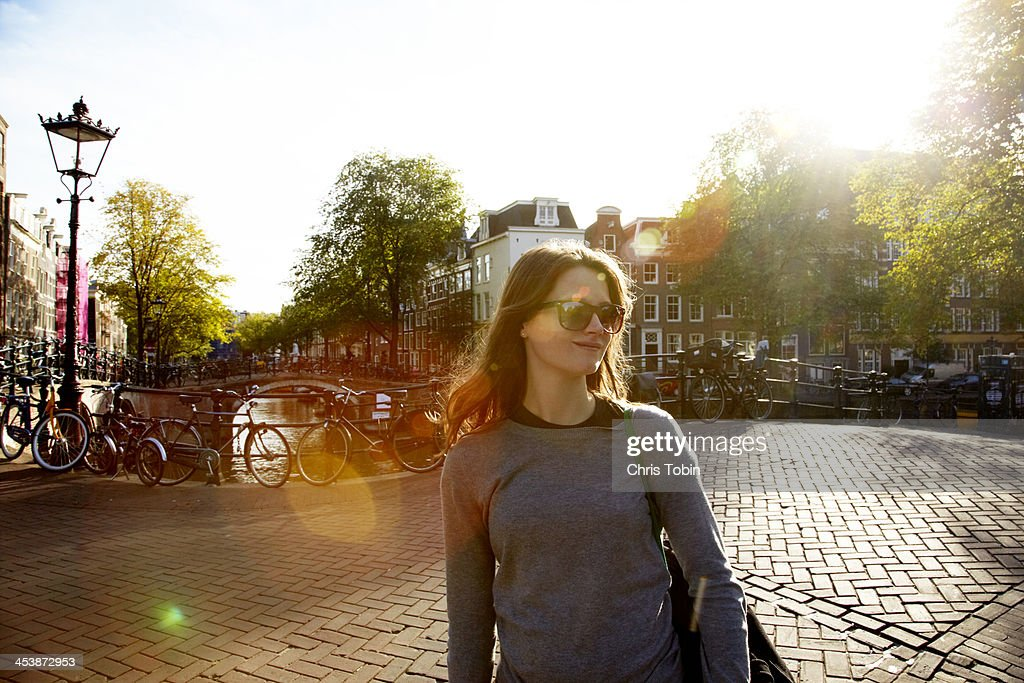 Young woman in Amsterdam : Stock Photo