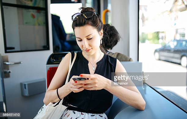 Young woman in Amsterdam tram