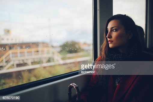 Young woman in Berlin metro train