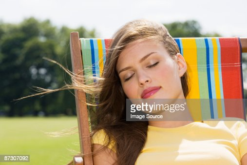 Young woman in deckchair