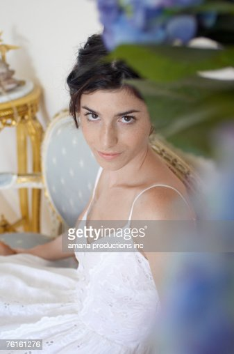 Young  woman in dress (portrait, high angle view) : Stock-Foto