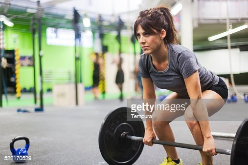 Young woman in fitness session.