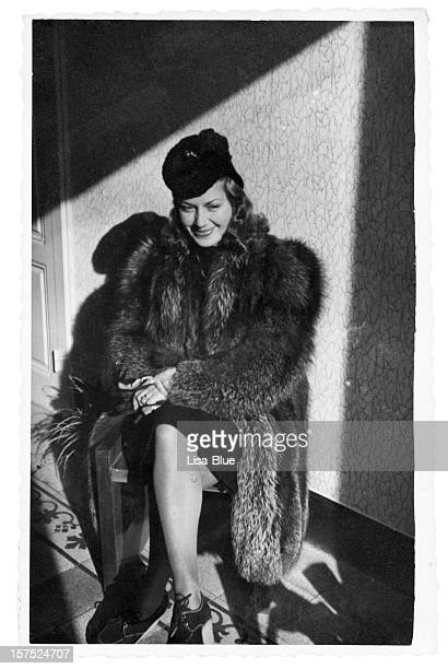 Young Woman in Fur,1940.Black And White.