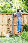 young woman in garden trying to look over the fence