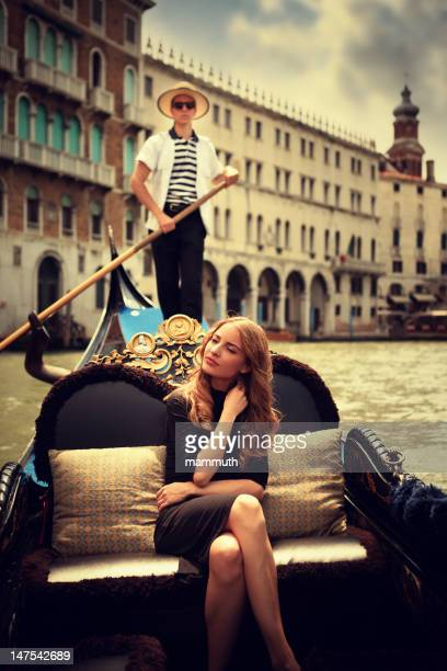 Young woman in gondola, Venice
