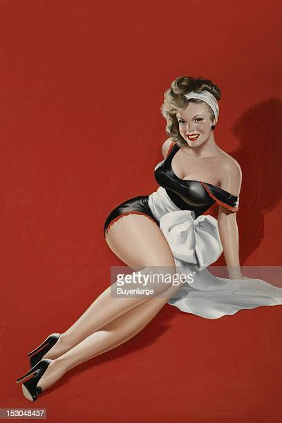 Young woman in high heels one piece suit sits on the flow wearing a large sash late 1940s By Peter Driben