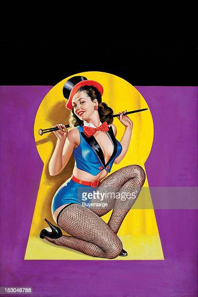 Young woman in high heels two piece suit wears a top hat and holds a cane on stage and is viewed thru a keyhole 1950 By Peter Driben