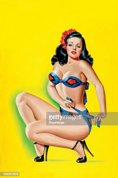 Young woman in high heels wears a two piece bathing suit which she enticingly ties at her hip 1947 By Peter Driben