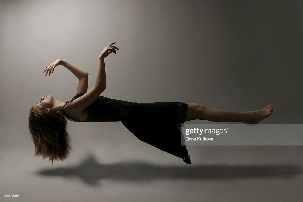 Young woman in mid-air
