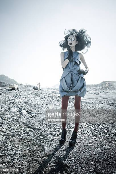 Young woman in moon space planets