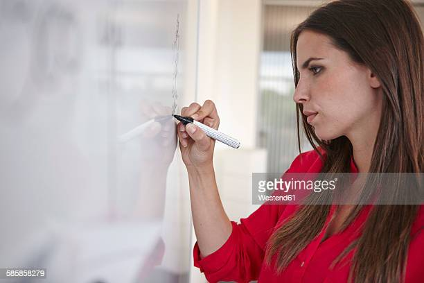 Young woman in office writing on whiteboard