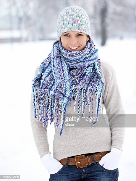 Young woman in park on a winter day.
