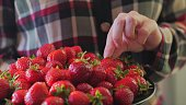 Young girl picks a delicious ripe strawberry from the black plate. Beautiful background. Lady chooses a berry.