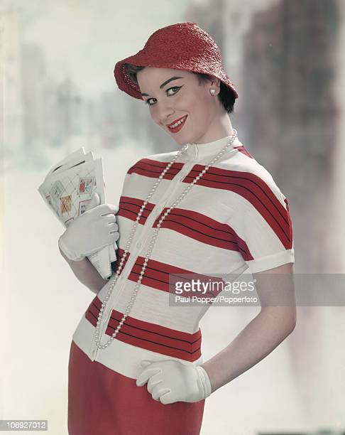 A young woman in red and white stripes 1958