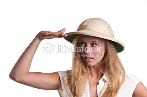 1edd2201450d3 Young Woman in safari hat   Stock Photo