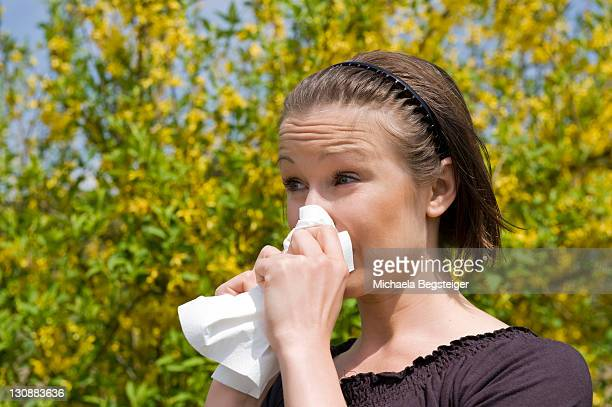 Young woman in spring, hay fever