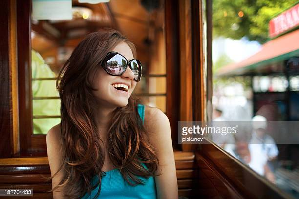 Young woman in streetcar