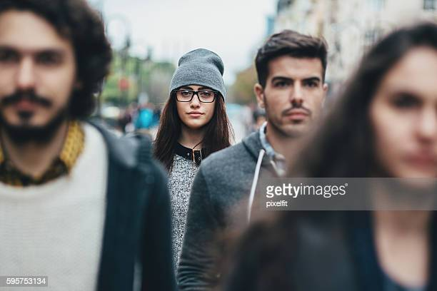 Young woman in the crowd