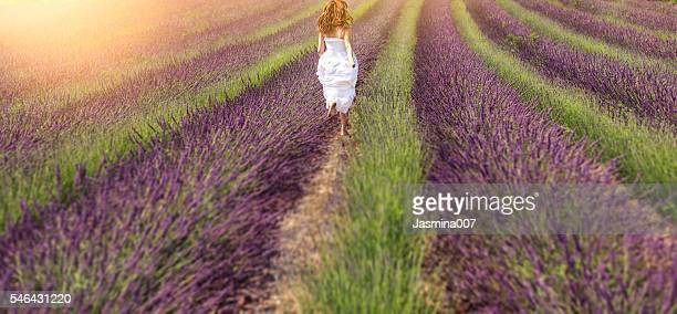 Young woman in the lavander field