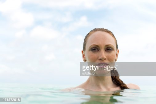 Young woman in the sea