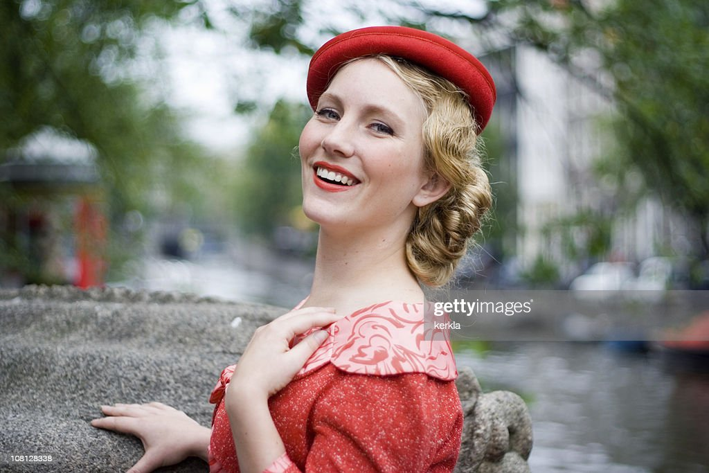 Young Woman in Vintage Clothing