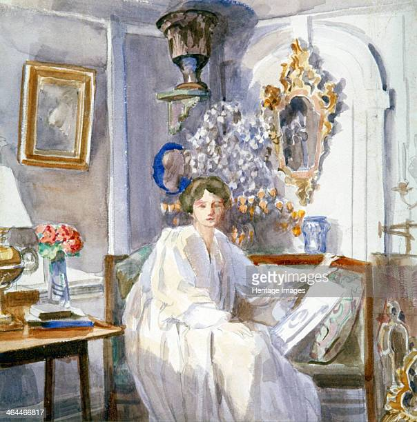 'Young Woman in White' c18641930 Painting of a woman seated in the corner of a sitting room