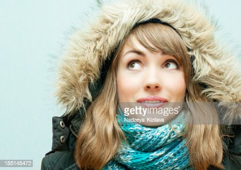 Young woman in winter clothes