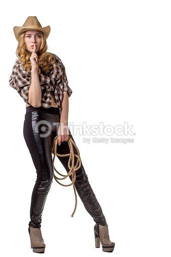 Mujer Joven En Un Sombrero De Vaquero Con Una Cuerda Foto de stock ... c4ec23abc74