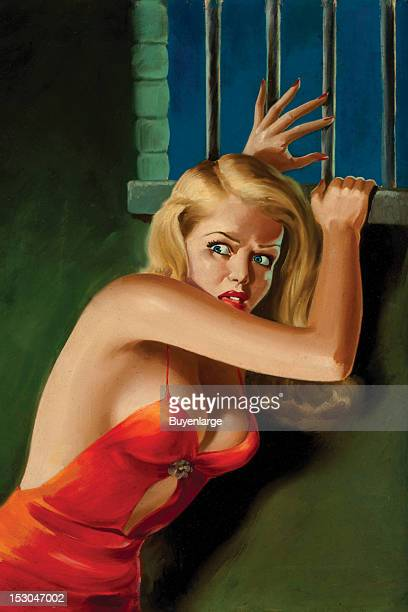 Young woman is in fear as a prisoner and has a skimpy red dress through which her erect nipples are visible 1940 By Peter Driben
