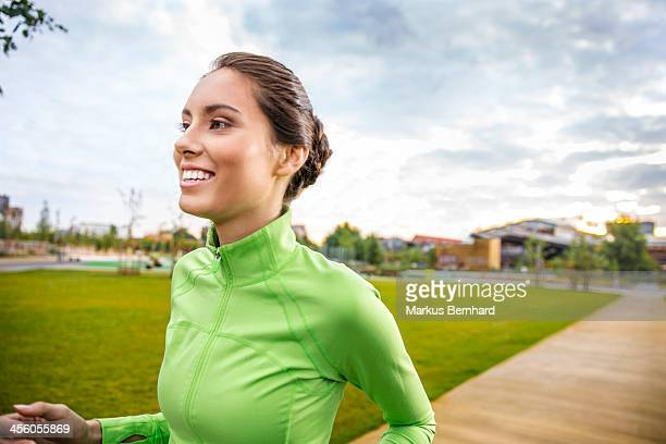 Young woman jogging in the morning