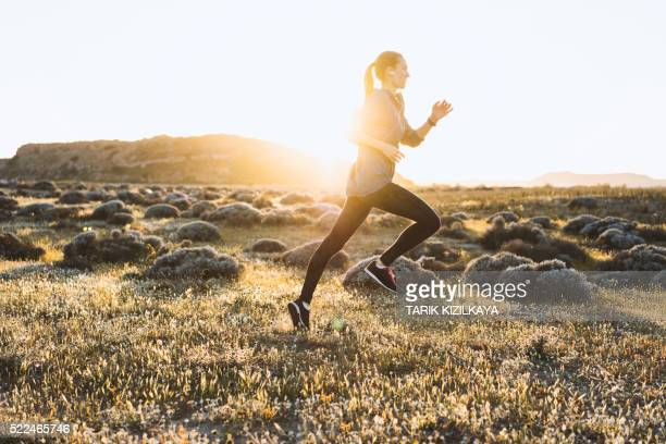 Giovane donna fare jogging in una giornata di sole