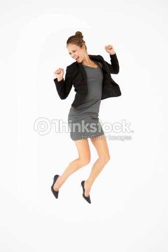 young woman jumping for joy stock photo thinkstock