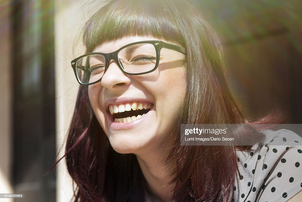 Young woman laughing with joy, Osijek, Croatia : Stock Photo