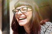 Young woman laughing with joy, Osijek, Croatia