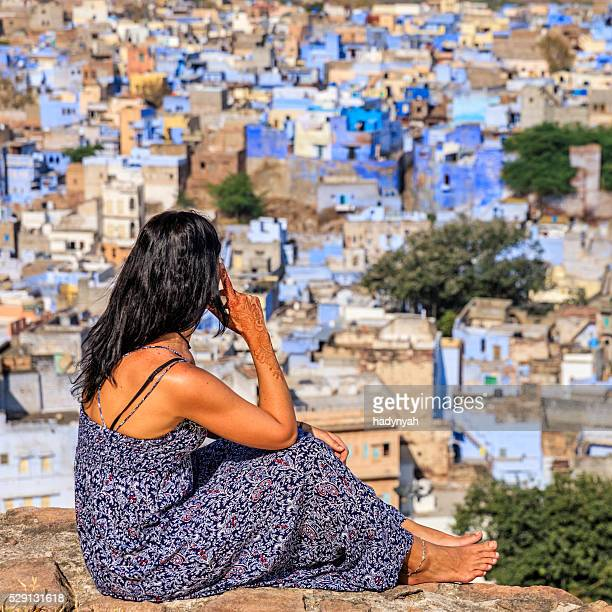 Young woman looking at the view, Jodhpur, India