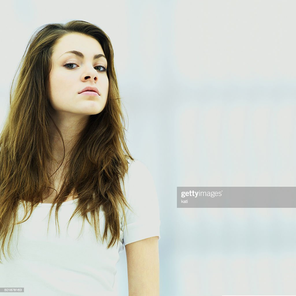 Young woman looking down