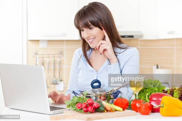 Young woman looking for recipes online