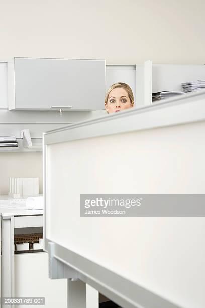 若い女性をお望みのオフィス、ポートレート除算器