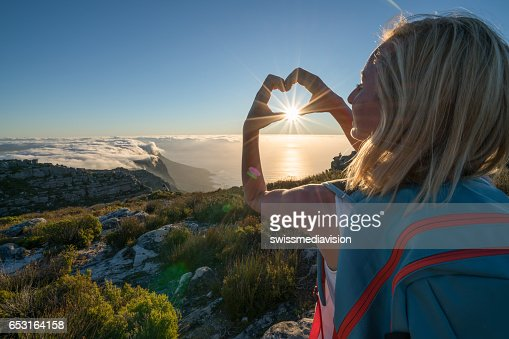 Young woman loving hiking Table Mountain : Stock Photo
