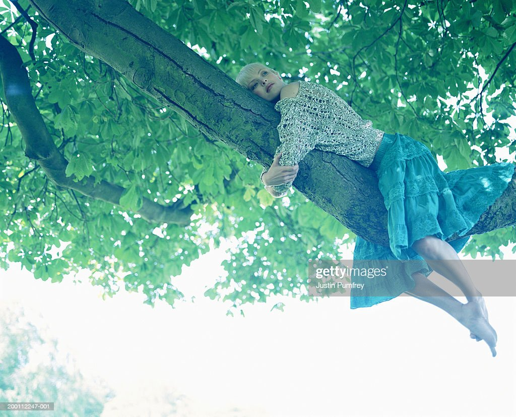 Young woman lying on tree branch : Stock Photo