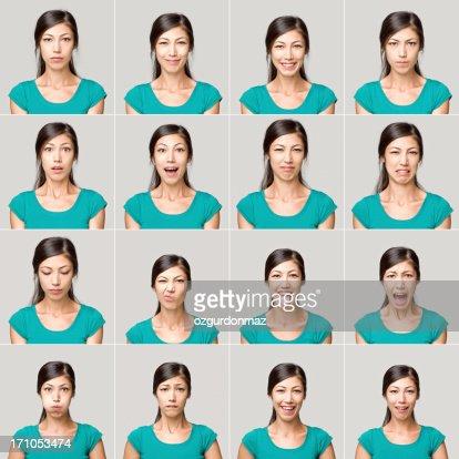 Giovane donna facendo espressioni facciali