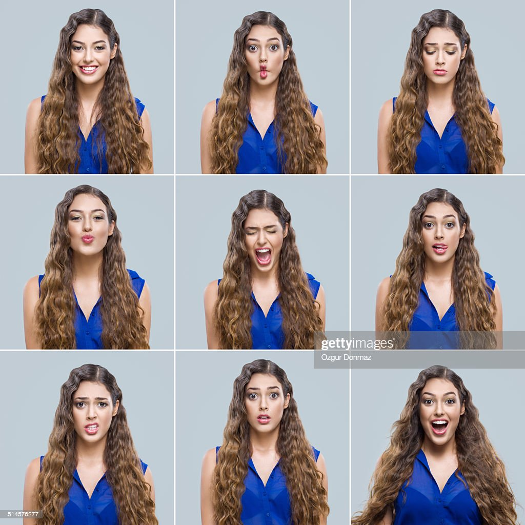 Young woman making facial expressions : Stock-Foto
