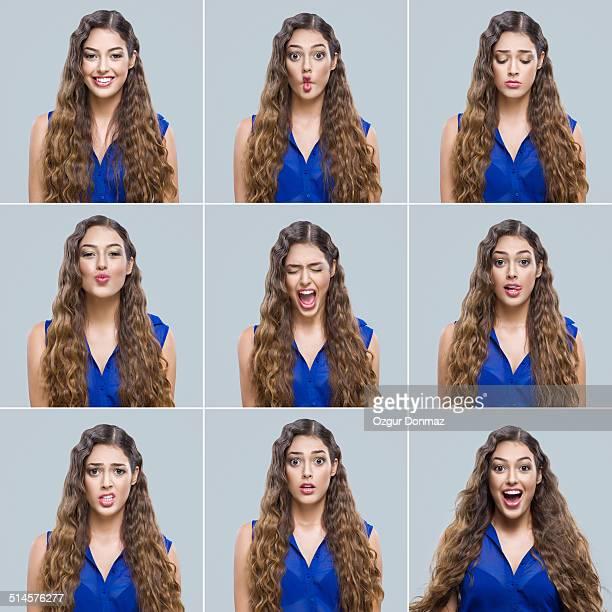 Young woman making facial expressions