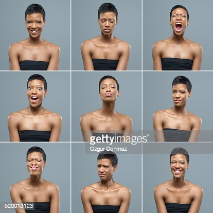 Young woman making facial expressions