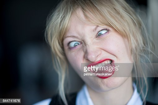 Cross Eyed Funny Looking Funny Memes About: Young Woman Making Funny Faces Stock Photo