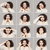 Young woman making various facial expressions