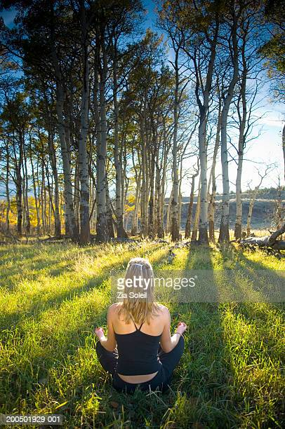 Young woman meditating in grassy tree clearing, rear view