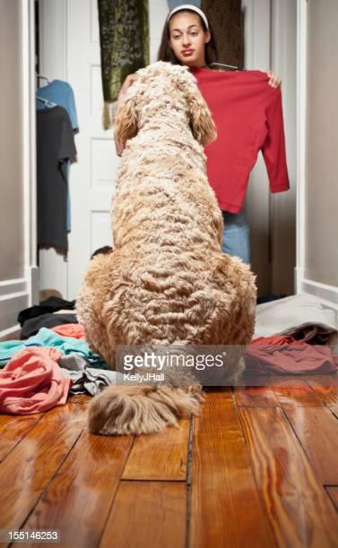 Giovane donna di modellazione vestiti davanti il suo cane