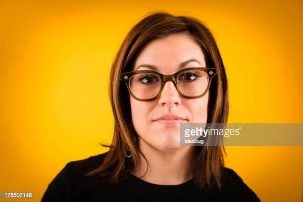 Young Woman Modeling Vintage Eyeglasses